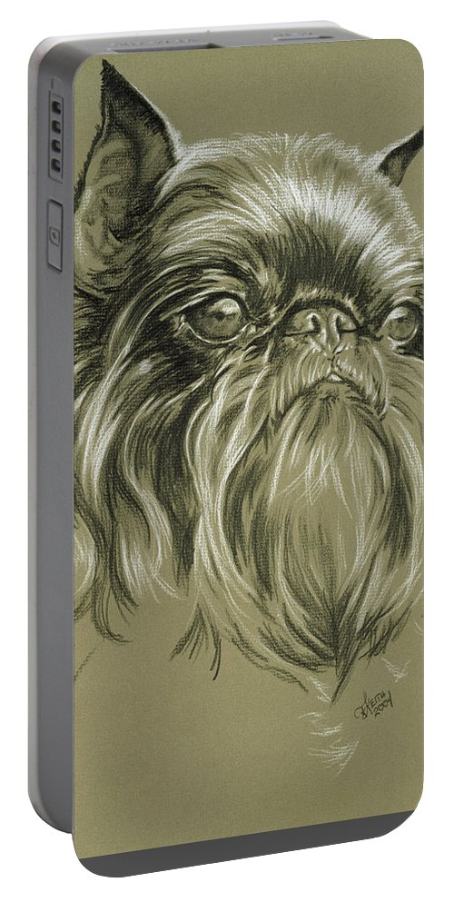 Toy Group Portable Battery Charger featuring the drawing Belgian Griffon In Charcoal by Barbara Keith