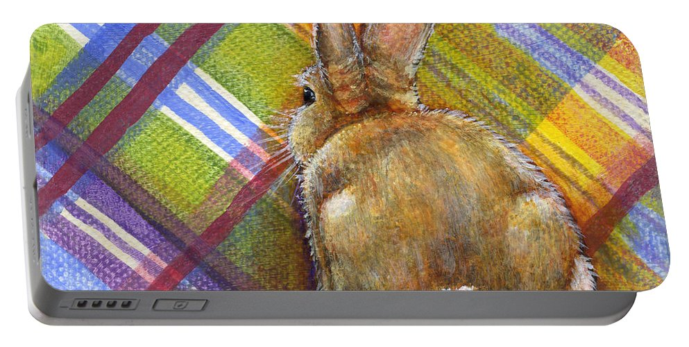 Rabbit Portable Battery Charger featuring the painting Believe by Retta Stephenson