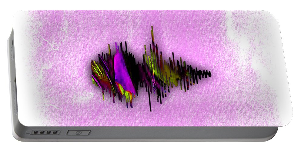 Soundwave Portable Battery Charger featuring the mixed media Belive Recorded Soundwave Collection by Marvin Blaine