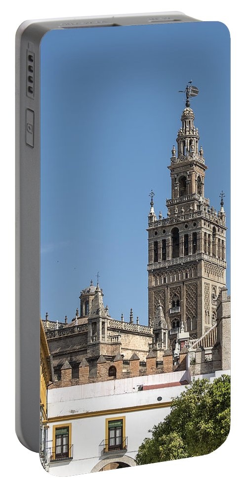 Cathedral Of Seville Portable Battery Charger featuring the photograph Bell Tower - Cathedral Of Seville - Seville Spain by Jon Berghoff
