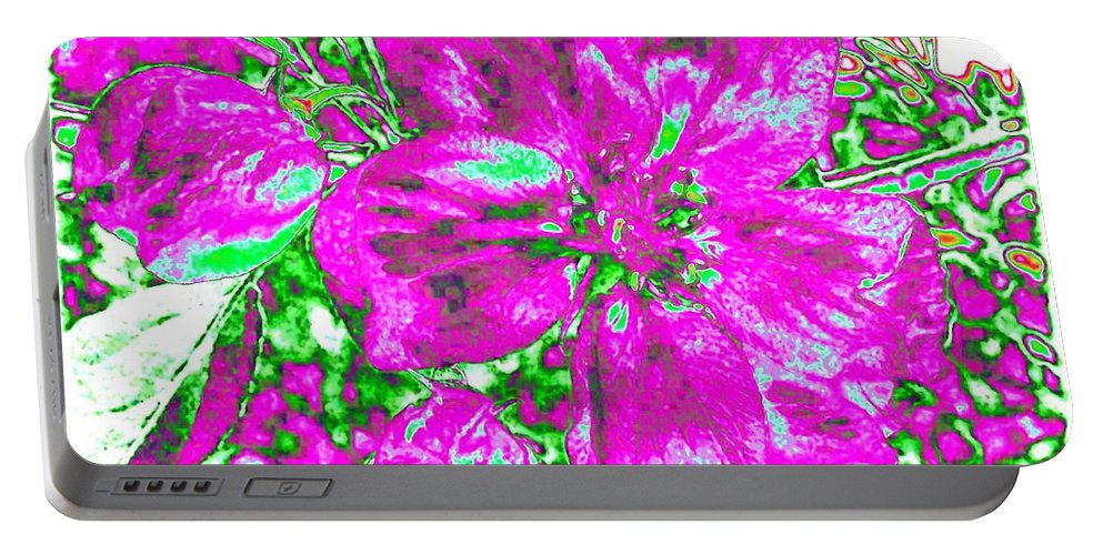 Bella Flora Portable Battery Charger featuring the digital art Bella Flora 2 by Will Borden