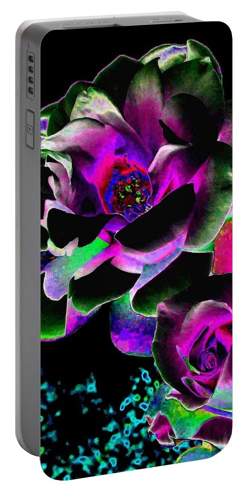 Bella Flora Portable Battery Charger featuring the digital art Bella Flora 8 by Will Borden