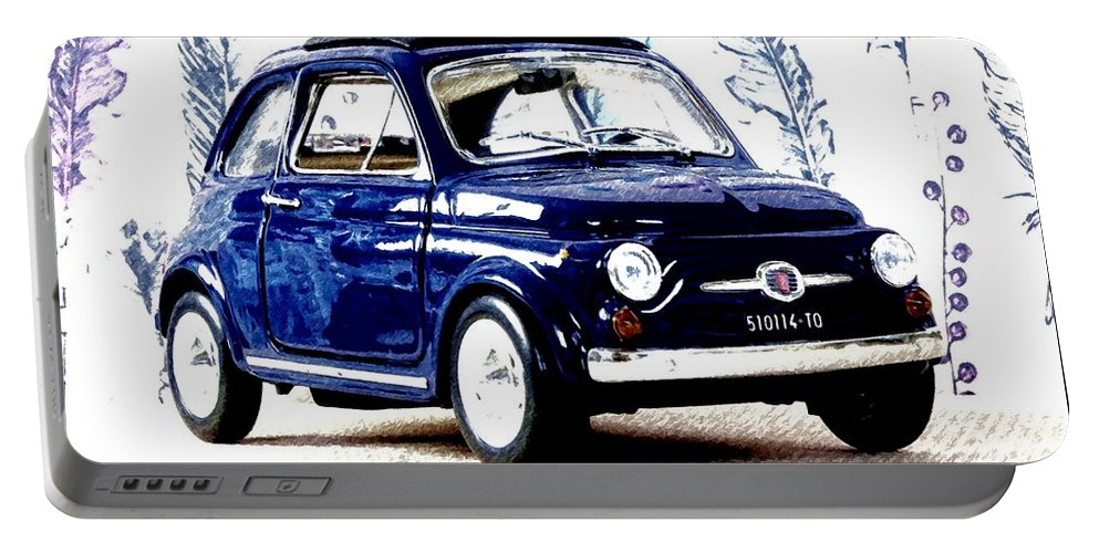 Fiat Portable Battery Charger featuring the mixed media Bella Macchina 8 - Fiat 500 F by Jean-Louis Glineur alias DeVerviers