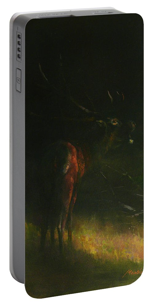 Belling Stag Portable Battery Charger featuring the painting Belling Stag by Attila Meszlenyi