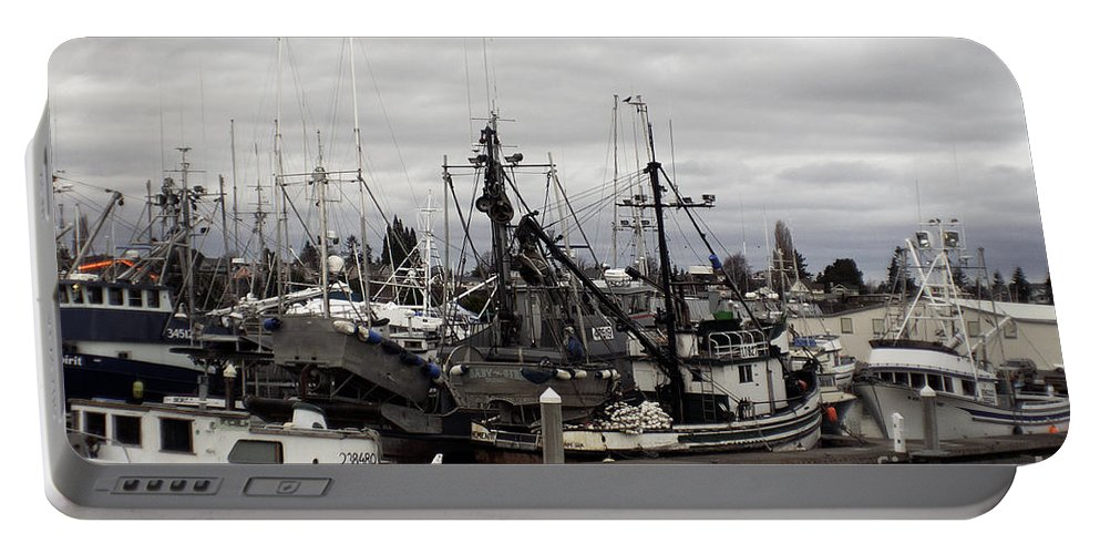 Art Portable Battery Charger featuring the photograph Bellingham Bay Ship Yard by Clayton Bruster