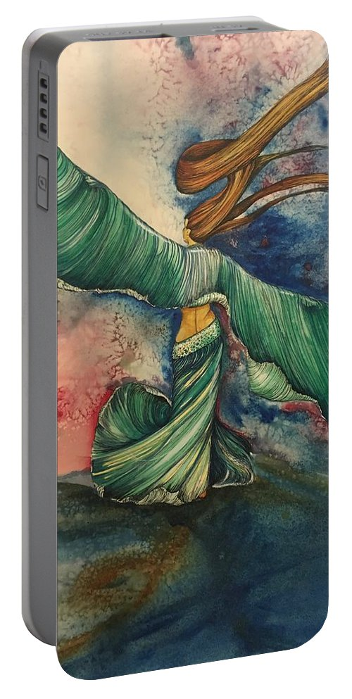 Belly Dancer Portable Battery Charger featuring the painting Belly Dancer With Wings by Mastiff Studios