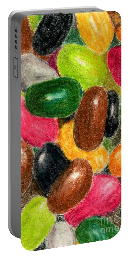 Colored Pencil Portable Battery Charger featuring the painting Belly Jelly by Lynne Reichhart