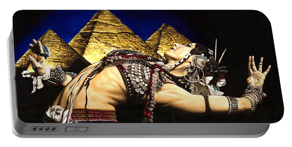 Bellydance Portable Battery Charger featuring the painting Bellydance Of The Pyramids - Rachel Brice by Richard Young