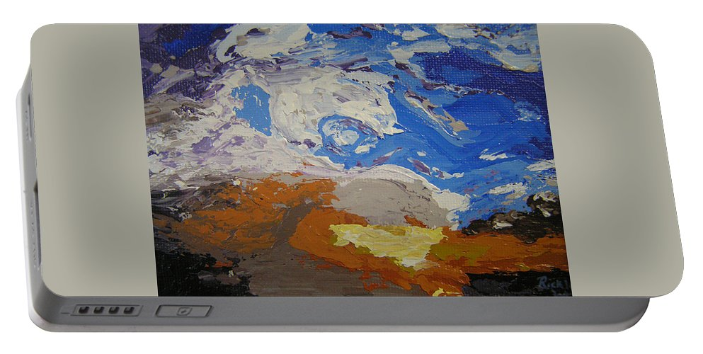Sunset Portable Battery Charger featuring the painting Belonging by Ricklene Wren