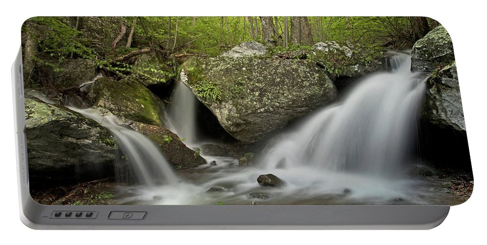 Waterfall Portable Battery Charger featuring the photograph Below Apple Orchard Falls by Virginia Dickens