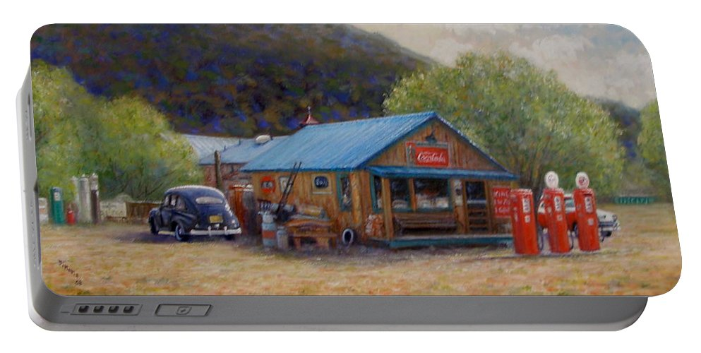 Realism Portable Battery Charger featuring the painting Below Taos 2 by Donelli DiMaria