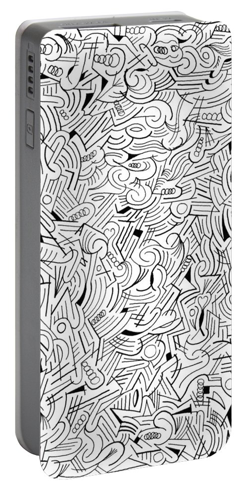 Abstract Portable Battery Charger featuring the drawing Bemused by Steven Natanson
