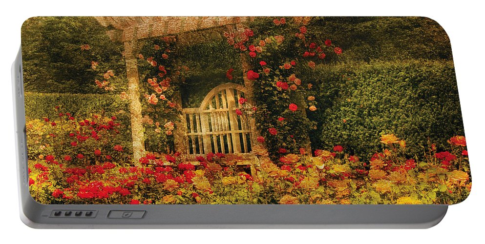 Roses Portable Battery Charger featuring the photograph Bench - The Rose Garden by Mike Savad