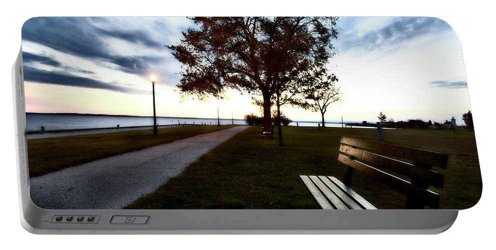 Bench Portable Battery Charger featuring the digital art Bench And Street Light by Mark Duffy
