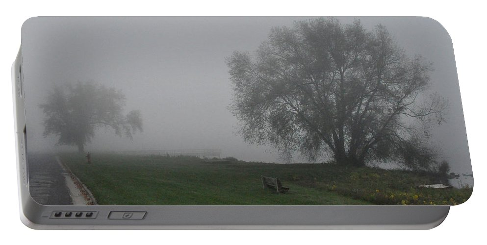 Fog Foggy Portable Battery Charger featuring the photograph Bench by Tim Nyberg