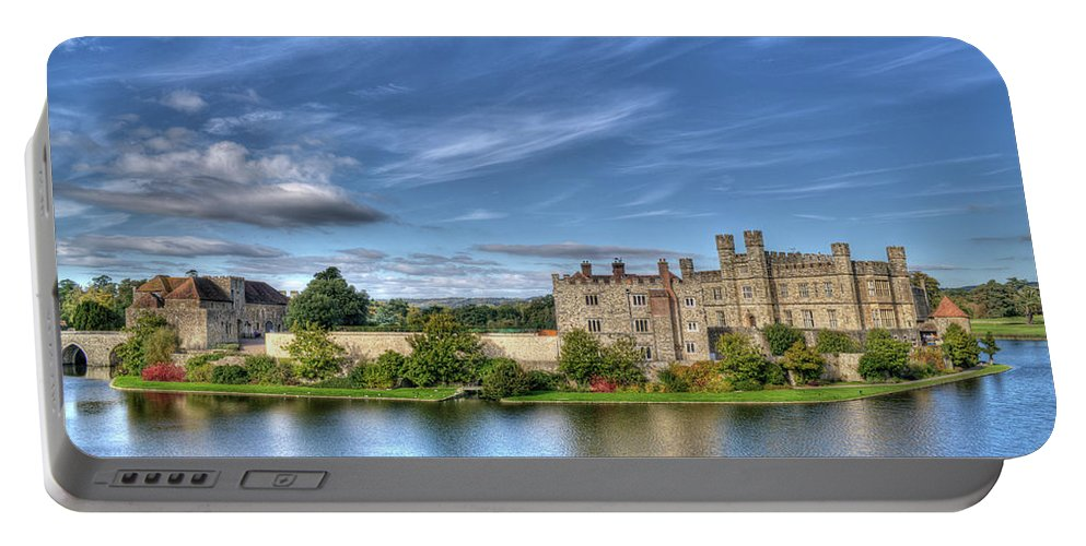 Leeds Castle Portable Battery Charger featuring the photograph Bench View Of Leeds Castle by Chris Thaxter