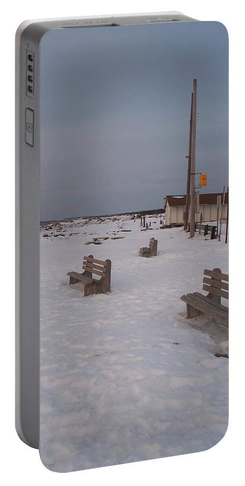 Benches Portable Battery Charger featuring the photograph Benches At Sunset Beach Nj by Eric Schiabor