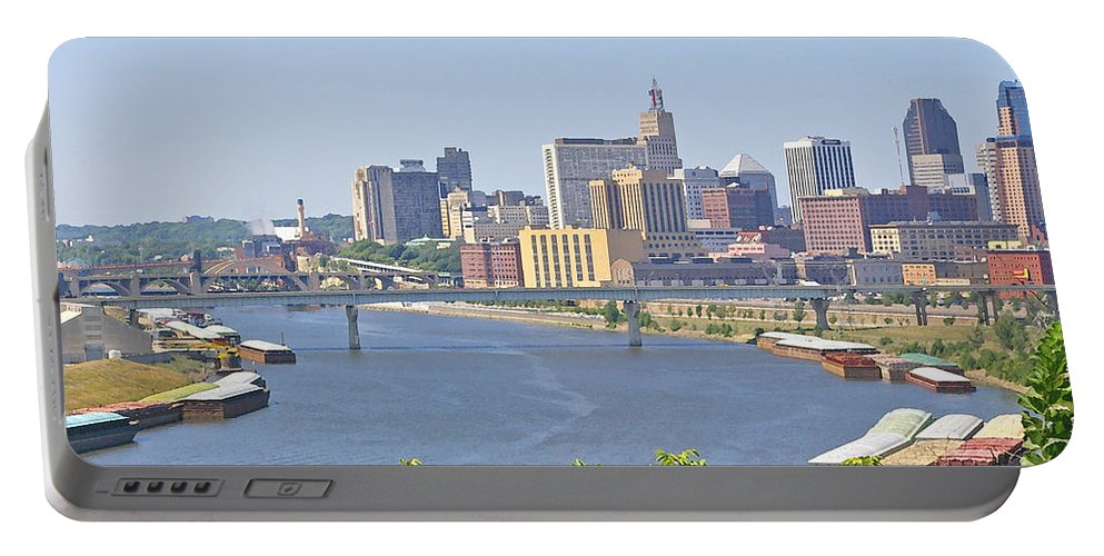 St Paul Portable Battery Charger featuring the photograph Bend In The River by Tom Reynen