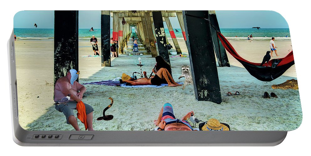 Jacksonville Portable Battery Charger featuring the photograph Beneath The Jacksonville Beach Pier by Kay Brewer