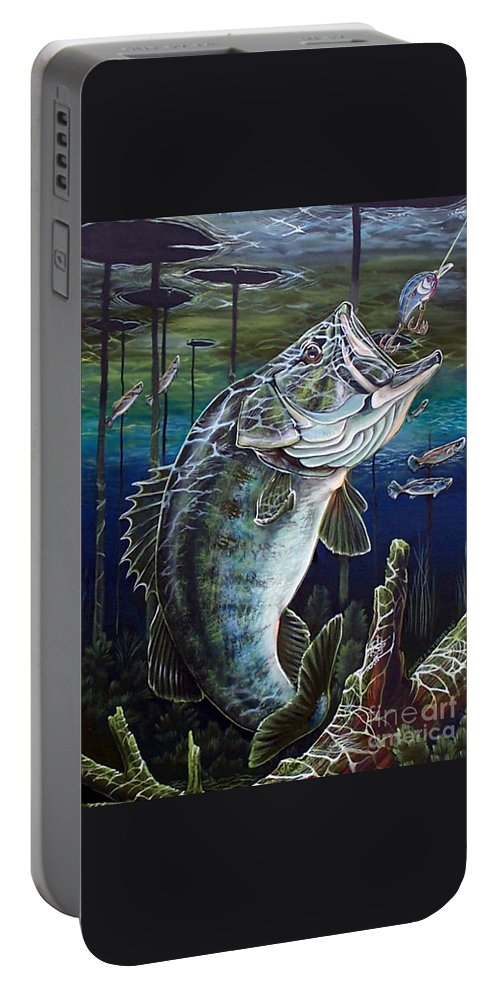 Bass Portable Battery Charger featuring the painting Beneath The Surface by Monica Turner