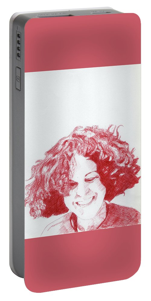 Portrait Portable Battery Charger featuring the drawing Benedicte by Richard Long