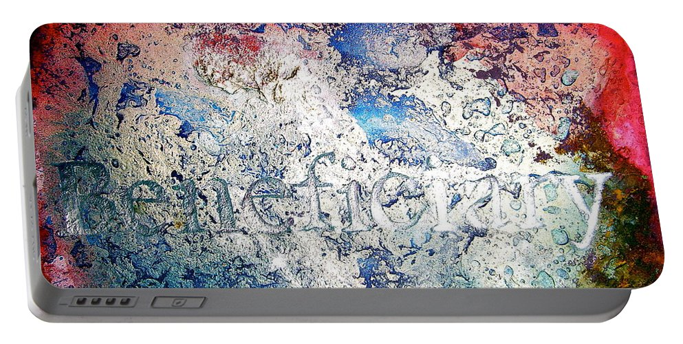 Abstract Art Portable Battery Charger featuring the painting Beneficiary by Laura Pierre-Louis