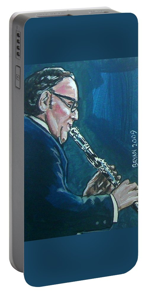Benny Goodman Portable Battery Charger featuring the painting Benny Goodman by Bryan Bustard