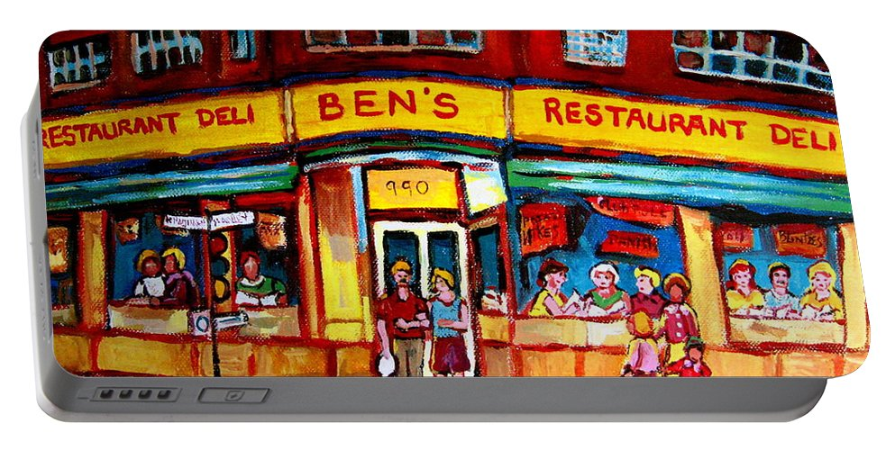 Bens Famous Restaurant Portable Battery Charger featuring the painting Ben's Delicatessen - Montreal Memories - Montreal Landmarks - Montreal City Scene - Paintings by Carole Spandau