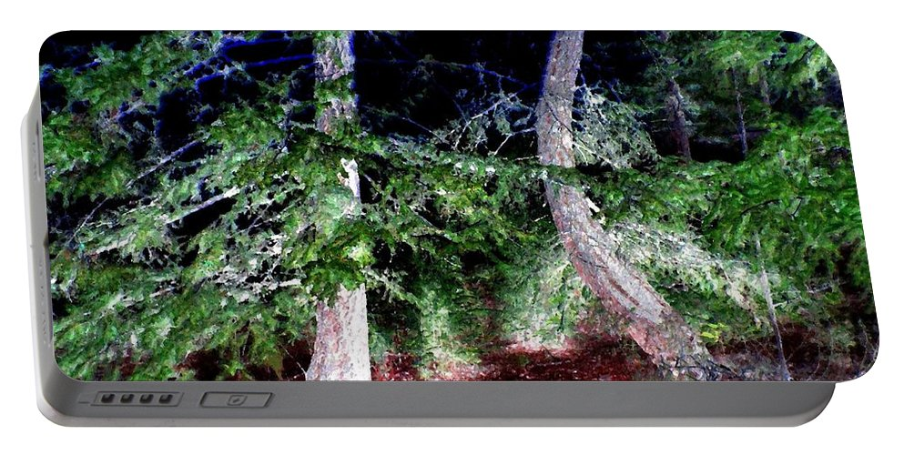 Forest Portable Battery Charger featuring the digital art Bent Fir Tree by Will Borden