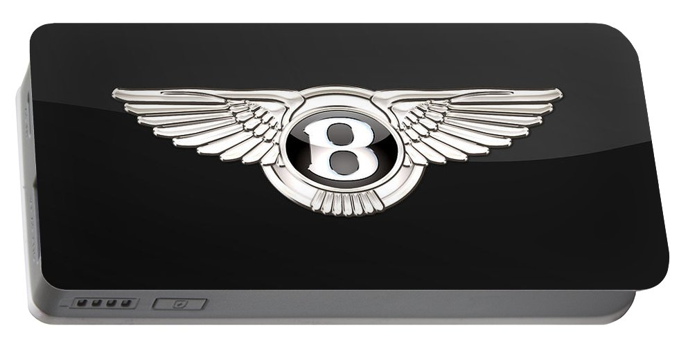 'wheels Of Fortune' By Serge Averbukh Portable Battery Charger featuring the photograph Bentley - 3 D Badge On Black by Serge Averbukh