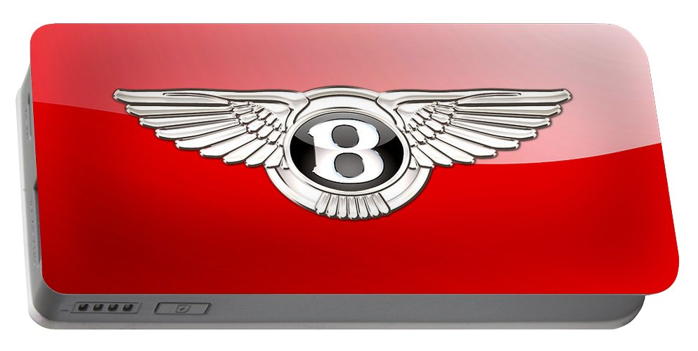 Wheels Of Fortune� Collection By Serge Averbukh Portable Battery Charger featuring the photograph Bentley 3 D Badge on Red by Serge Averbukh