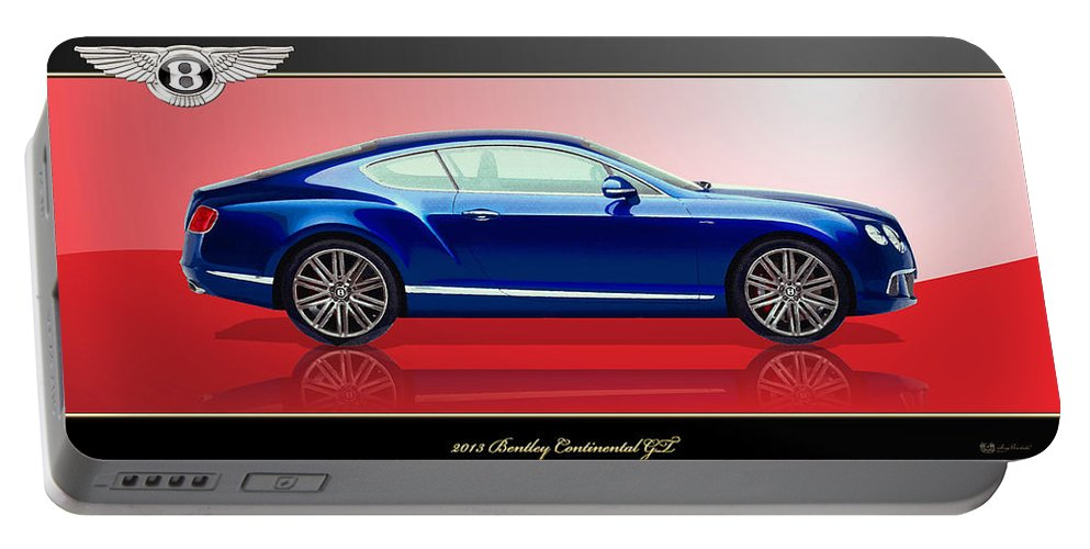 Wheels Of Fortune By Serge Averbukh Portable Battery Charger featuring the photograph Bentley Continental GT with 3D Badge by Serge Averbukh
