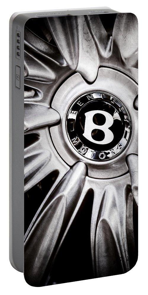 Bentley Wheel Emblem Portable Battery Charger featuring the photograph Bentley Wheel Emblem -0303ac by Jill Reger