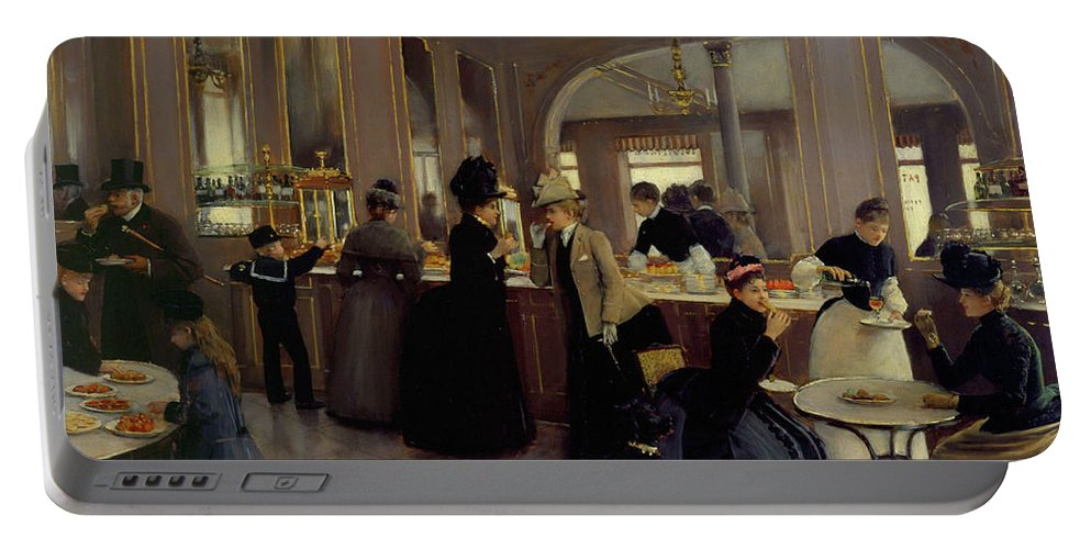 Painting Portable Battery Charger featuring the painting Berard Gloppe by Jean Beraud