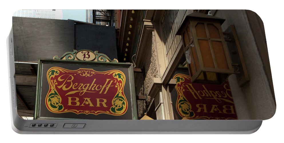 Bar Portable Battery Charger featuring the photograph Berghoff Bar by Diane Schuler