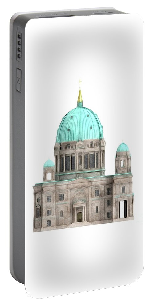 Berlin Portable Battery Charger featuring the painting Berlin Cathedral by John Springfield