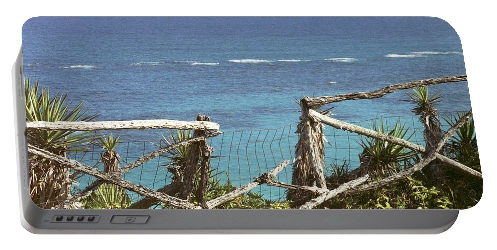 Bermuda Portable Battery Charger featuring the photograph Bermuda Fence And Ocean Overlook by Heather Kirk