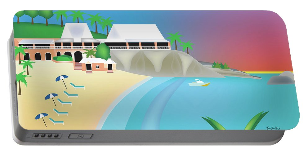 Bermuda Caribbean Art Portable Battery Charger featuring the digital art Bermuda Horizontal Scene by Karen Young