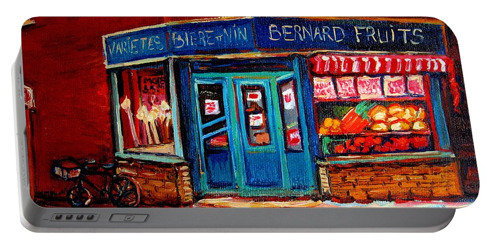 Bernard Fruit And Broomstore Portable Battery Charger featuring the painting Bernard Fruit And Broomstore by Carole Spandau