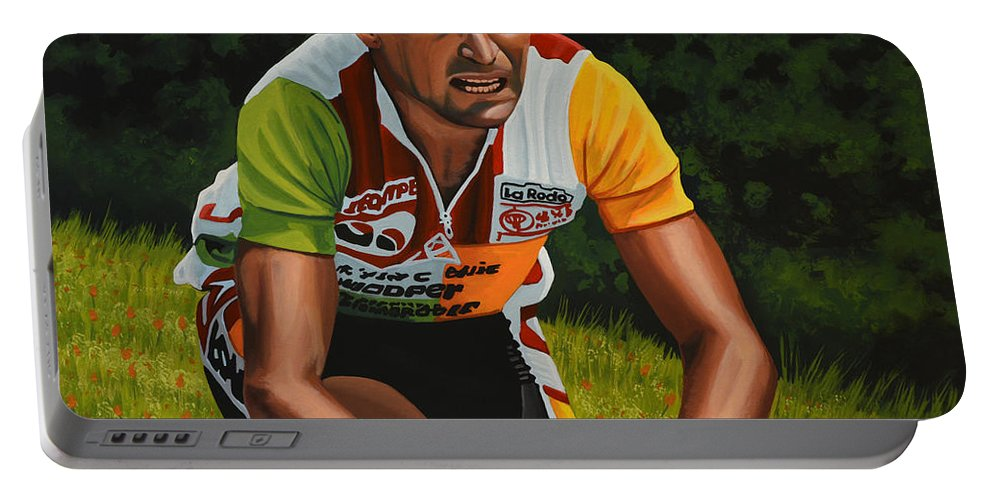 Bernard Hinault Portable Battery Charger featuring the painting Bernard Hinault by Paul Meijering