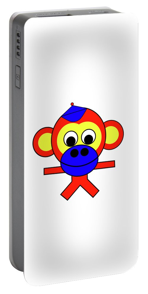 Bernhard The Monkey Portable Battery Charger featuring the digital art Bernhard the Monkey by Asbjorn Lonvig