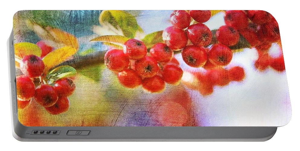 Berry Portable Battery Charger featuring the digital art Berry Beautiful by Mo Barton