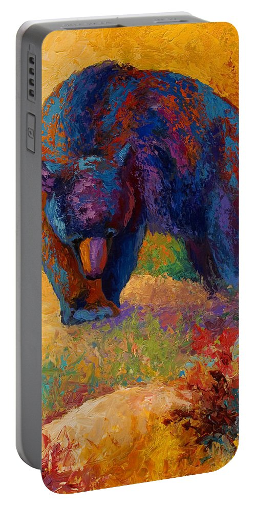 Bear Portable Battery Charger featuring the painting Berry Hunting by Marion Rose