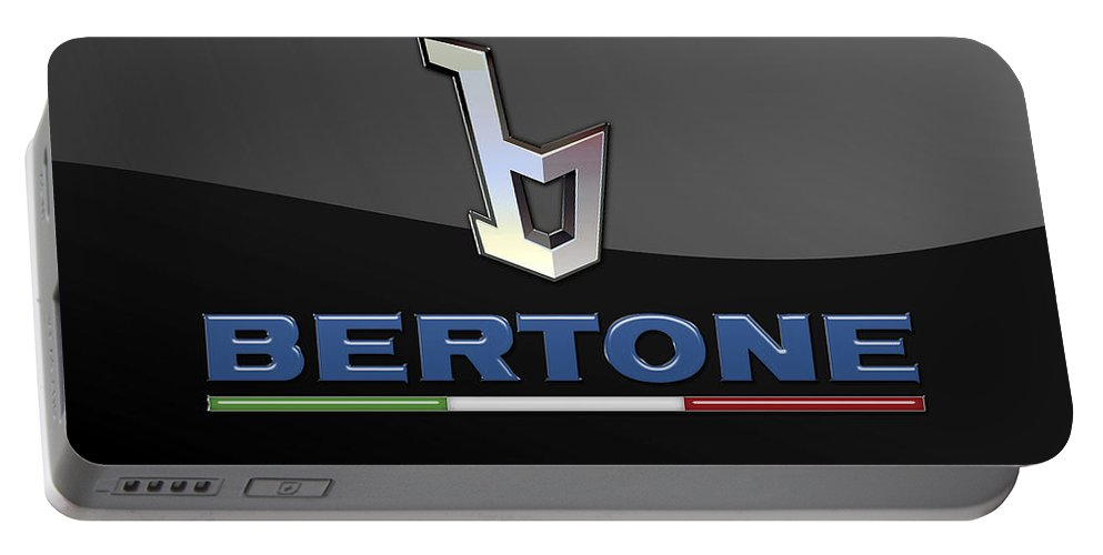 'auto Badges' Collection By Serge Averbukh Portable Battery Charger featuring the photograph Bertone - 3 D Badge On Black by Serge Averbukh