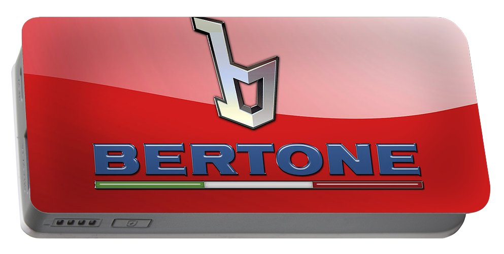 �wheels Of Fortune� Collection By Serge Averbukh Portable Battery Charger featuring the photograph Bertone 3 D Badge On Red by Serge Averbukh
