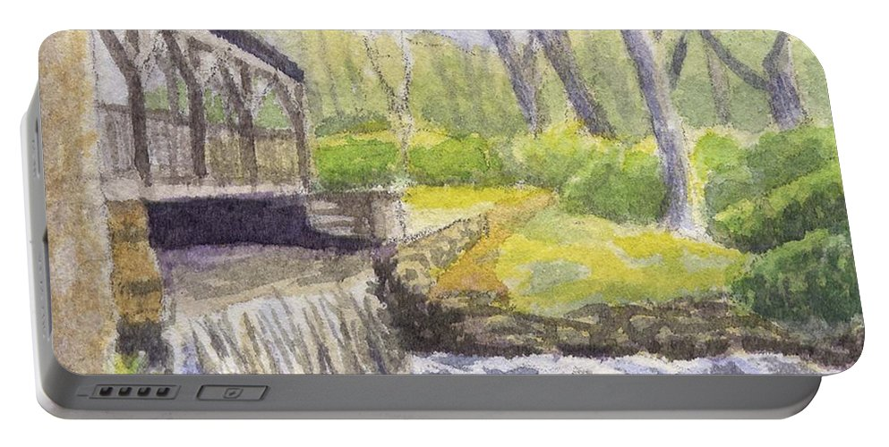 Moore State Park Portable Battery Charger featuring the painting Beside the Dam by Sharon E Allen