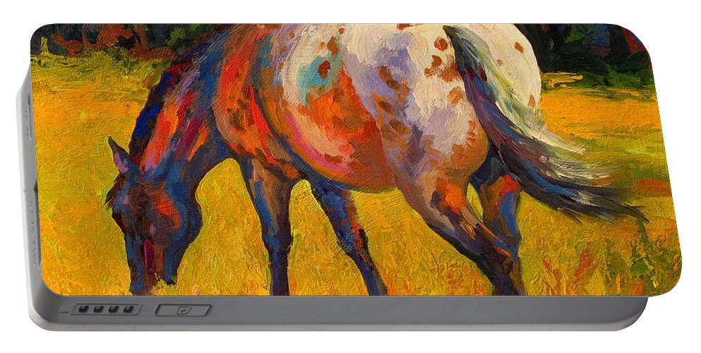 Horses Portable Battery Charger featuring the painting Best End Of An Appy by Marion Rose