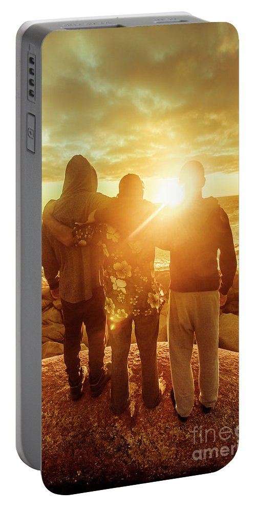 Friends Portable Battery Charger featuring the photograph Best Friends Greeting The Sun by Jorgo Photography - Wall Art Gallery