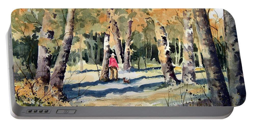 Dog Portable Battery Charger featuring the painting Walking With A Friend by Sam Sidders