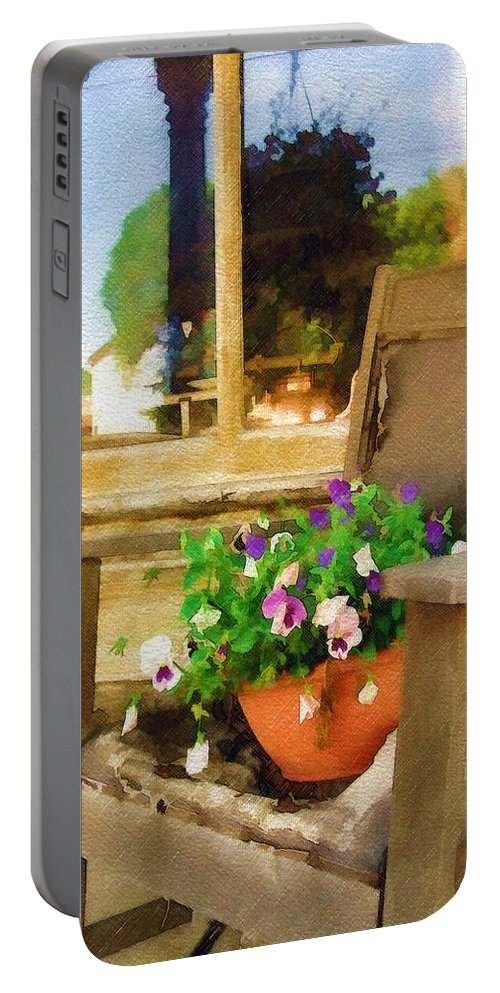 Pansies Portable Battery Charger featuring the photograph Best Seat In The House by Sandy MacGowan